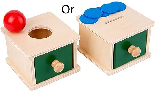 jiheousty Caja de Juego de Bolas de Monedas de Madera para niños pequeños Herramientas Montessori para bebés: Amazon.es: Hogar