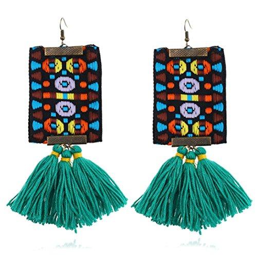 (Women Girls Bohemian Tassel Earrings Vintage Dangle Earrings Statement Handmade Tassel Fringe Drop Hoop Earrings (Green))