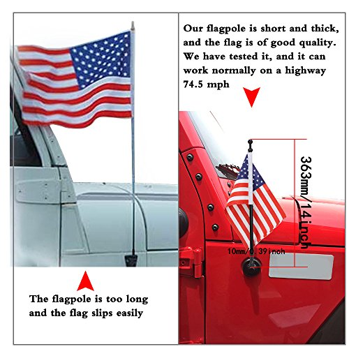 for 1997-2006 Jeep Wrangler TJ - Metal Aluminium Heavy Duty Antenna(6MM) - AM/FM USA American Flag - Black Antenna Replacement ()