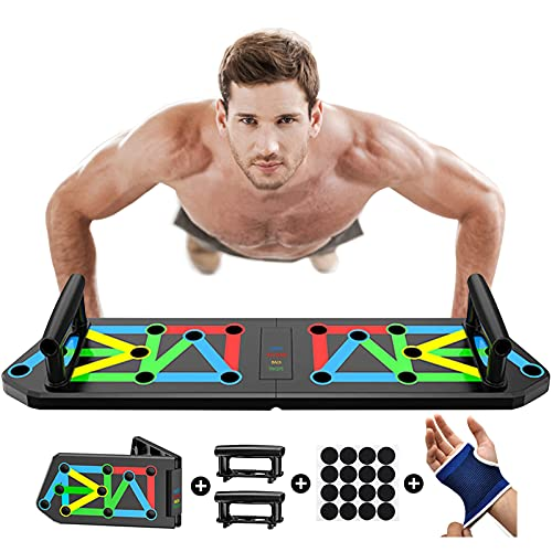 Vonloge Press Up Board, Folding Push Up Handles Thicken Muscle Rack Stand Professional Chest Training System Home Gym Equipment for Men Women (Black)