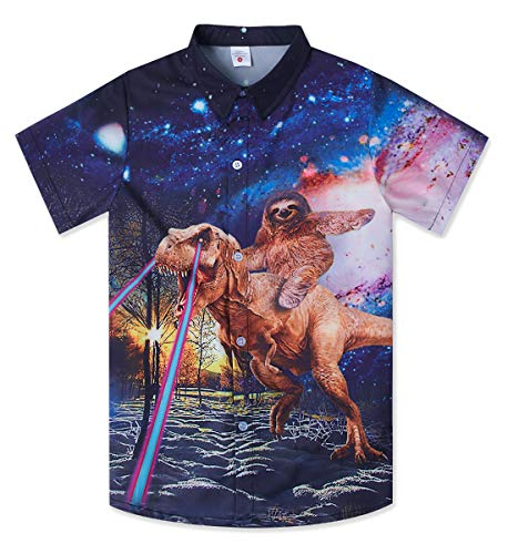 Teen Boys Hawaiian Style Shirts 3D Printed Sloth Riding Dinosaur Button Down Top Cool Galaxy Aloha Tropical Dress Toddler Summer Beach Birthday Party T Shirt Costume for 11-12 Yrs Kids ()