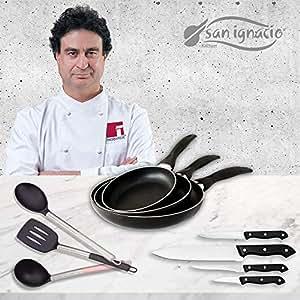San Ignacio Navy Black Set 3 sartenes + 4 Cuchillos + 3 Utensilios, Aluminio Prensado