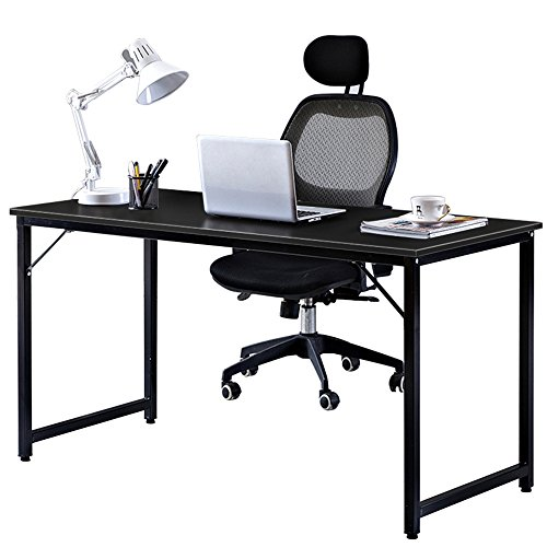 DlandHome 55'' Large Computer Desk, Composite Wood Board, Modern Home Office Desk/Workstation/ Table, JJ-140BB Black & Black Legs, 1 Pack (New Packaging) by DlandHome