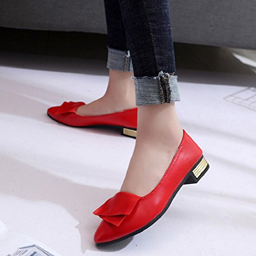 Elevin(TM)Women Office Shallow Fish Mouth Pointed-Toe Low Heel Shoes Flat Flattie Single Shoes Red QGpPF2