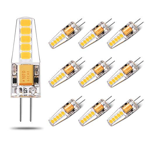 Led G4 Bulb AC/DC Bi Pin Warm White 12V 20W Halogen Replacement Led Light Bulb for Landscape Cabinets Range Hood 2W 200LM 10 Pack Yuiip