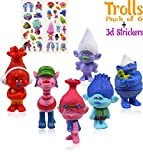 Trolls Action Figures| Set of 6| 3-inches tall | 3D Stickers | Poppy, Branch, Biggie, Cooper, DJ Suki and Guy Dimond|Treasure trolls|Birthday Cake/Cupcake Toppers|Collectible Doll By Alpha-One Sellers