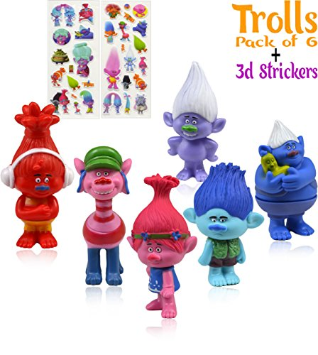 Trolls Action Figures| Set of 6| 3-inches tall | 3D Stickers | Poppy, Branch, Biggie, Cooper, DJ Suki and Guy Dimond|Treasure trolls|Birthday Cake/Cupcake Toppers|Collectible Doll By Alpha-One Sellers Photo