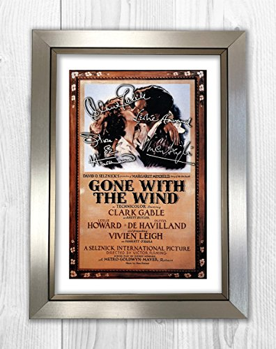 Engravia Digital Gone with the Wind - Clark Gable, Leslie Howard, Olivia De Havilland, Vivien Leigh 1 SP - Signed Autograph Reproduction Photo A4 Print (Silver -