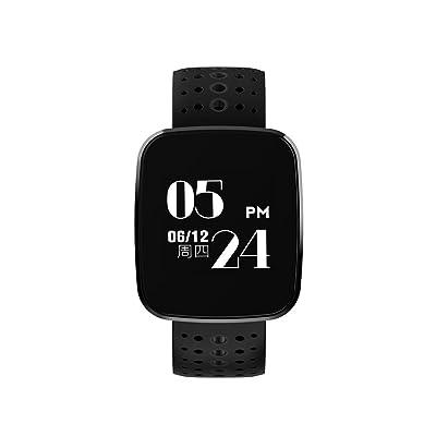 étanche Fitness tracker, Bluetooth 4.0Smart Bracelet avec podomètre moniteur de fréquence cardiaque moniteur de pression sanguine pour Android 4.3Ci-dessus AMD ou iOS 8.0s. (Silicon Band, Noir