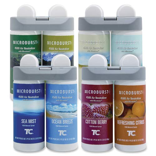 Rubbermaid 3486092 Microburst Duet Variety Pack (1 of ea. refill) - Oil - Cotton Berry, Refreshing Citrus, Ocean Breeze, Sea Mist, Alpine Sping, Mountain Peaks, Gentle Breeze, Linen Fresh - 180 Day', 'part_number