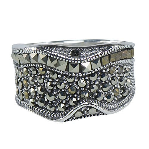 Marcasite Timeless Deco Ring 925 Sterling Silver (Cabochon Marcasite Ring)