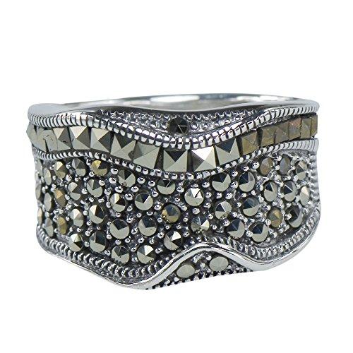Vintage Art Nouveau Marcasite Timeless Deco Ring 925 Sterling (Sterling Silver Marcasite Art)