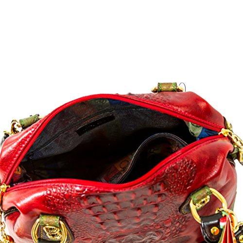 Bandolera de Rojo Piel Marino diseñador de Italiano Orlandi cocodrilo Bolso qgZHnxTvwE