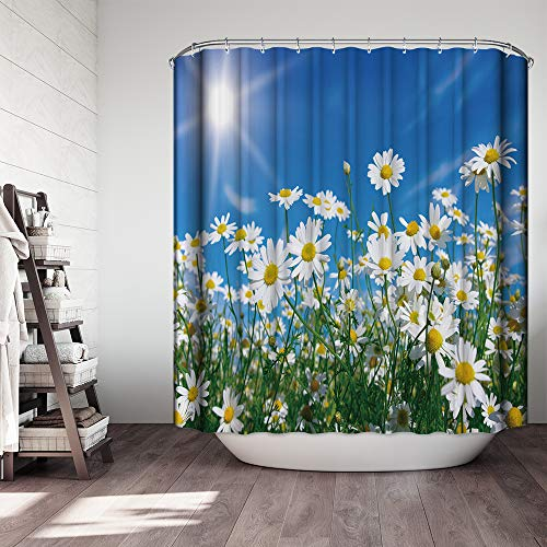 Used, Ezlif White Daisy Blossom Shower Curtain, Sunshine for sale  Delivered anywhere in USA