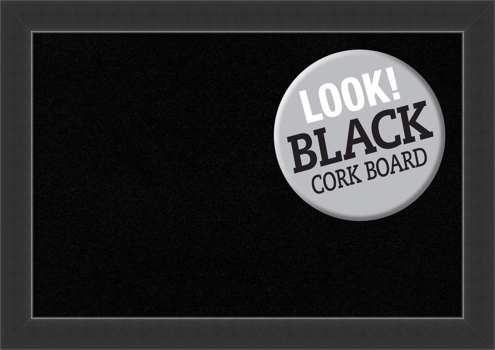 Framed Black Cork Board Bulletin Board | Black Cork Boards Corvino Black Frame | Framed Bulletin Boards | 41.00 x 29.00'' by Amanti Art