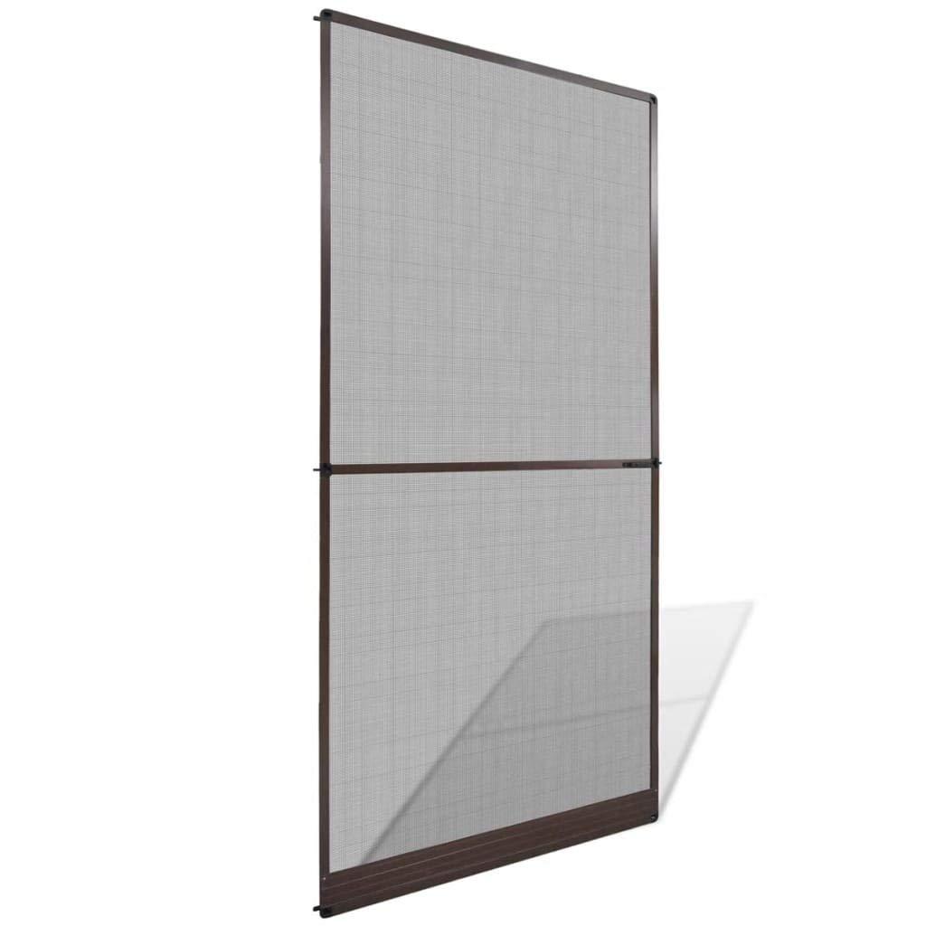 vidaXL Mosquitera marrón fija para puertas abatibles, 120 x 240 cm