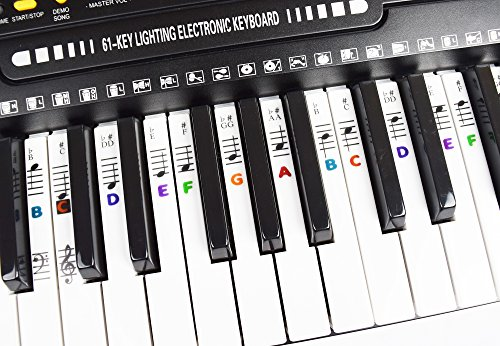Piano Key Note Keyboard Stickers Learn to Play Music Multi Color