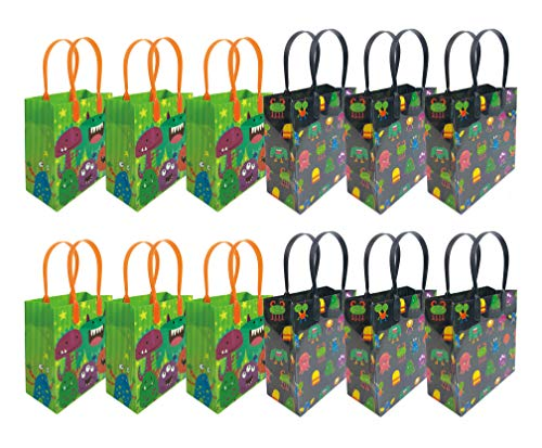 Monster Themed Party Favor Treat Bags, 12