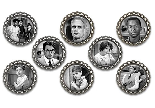 Set of 8 To Kill A Mockingbird themed bottle cap magnets.