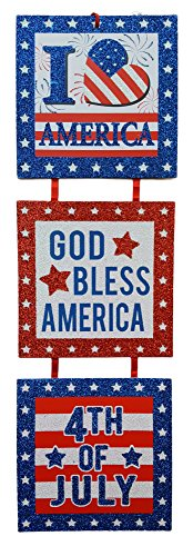 Patriotic USA Sparkle Glitter Tiered Door Hanger Sign (JULY 4TH)