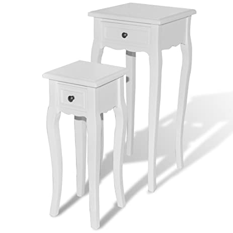 Incroyable White Telephone Side Table With Drawer 2 Pcs