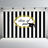 Mehofoto Graduation Photo Backdrop Black and White Stripe Background Photography for 2018 Graduation 7x5 Professional Customized Vinyl Backdrops for Photographers