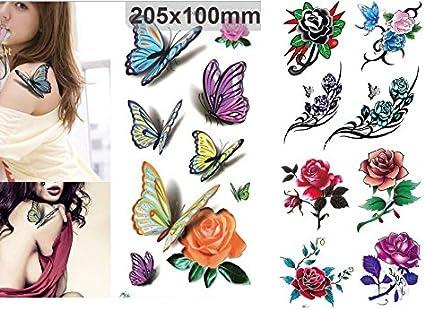 NOVAGO- 2 hojas de 20 x 10 cm de tatuajes éphémères mariposas y ...
