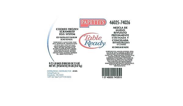 Michael Foods Papettis Individual Quick Frozen Scrambled Egg ...