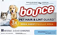 bounce Pet Hair and Lint Guard Mega Dryer Sheets With 3x Pet Hair Fighters, Unscented, 80 Count 80 count