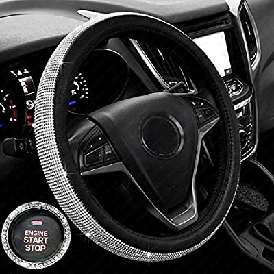 ChuLian Bling Diamond Auto Car Steering Wheel Cover with Crystal Rhinestones,Universal 15 Inch for HRV CRV Accord Corolla Prius rav4 Tacoma Camry X1 X3 X5 335i 535i