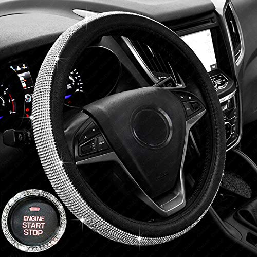 New Diamond Leather Steering Wheel Cover with Bling Bling Crystal Rhinestones, Universal Fit 15 Inch Anti-Slip Wheel Protector for Women -