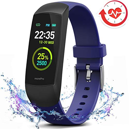 MorePro HRV Fitness Tracker Heart Rate, Activity Tracker with Blood Oxygen Monitor, Waterproof Pedometer Smart Watch with Sleep Monitor, Step & Calorie Counter for Women Men