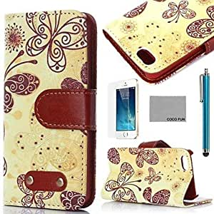 LCJ Yellow Butterfly Pattern PU Leather Full Body Case with Film, Stand and Stylus for iPhone 5/5S