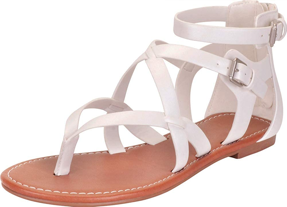 White Pu Cambridge Select Women's Thong Toe Crisscross Strappy Flat Sandal