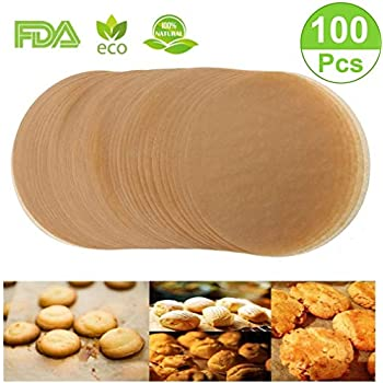 Unbleached Parchment Paper Cookie Baking Sheets,12 Inch Premium Brown Parchment Paper Liners for Round Cake Pans Circle,Non-stick Air Fryer Liners,100 Count