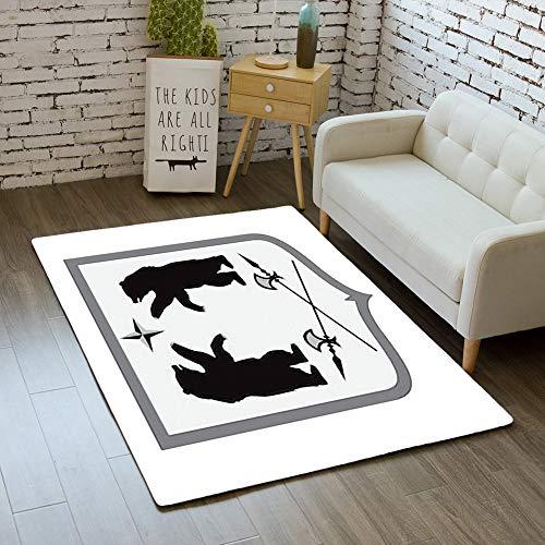 Vector Coat Of Arms - iBathRugs Door Mat Indoor Area Rugs Living Room Carpets Home Decor Rug Bedroom Floor Mats,Bear Shape Coat arms Vector