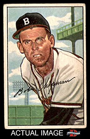 1952 Bowman 228 Bob Chipman Boston Braves Baseball Card Deans Cards 2