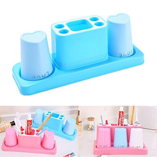 Bathroom Toothbrush Organizer,Toothbrush Holder Storage,Bagvhandbagro Stand Holder Storage Rack Box Set, Bathroom Toothbrush Toothpaste Organizer (Blue(2 Hole))
