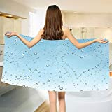 smallbeefly Turquoise Bath Towel Heart Shape Rain Droplets on Crystal Clear Window Glass Pure Love Valentines Romantic Bathroom Towels Blue Size: W 31.5'' x L 65''