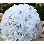 White Silk Rose Bouquet 2 Dozen Silk Roses, 12 Pink Jewels, Pink Ribbon - Bridal Wedding Bouquet