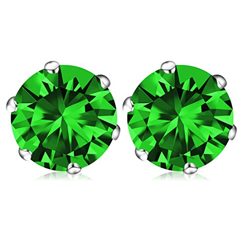 May Birthstone Stud Earrings, Swarovski Element AAA Cubic Zirconia Stainless Steel Earrings for Women Girls (Emerald Jade Earrings)