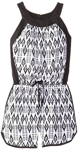 UPC 650868324291, Amy Byer Big Girls' Printed Romper with Contrast Trim, Black/White, Small