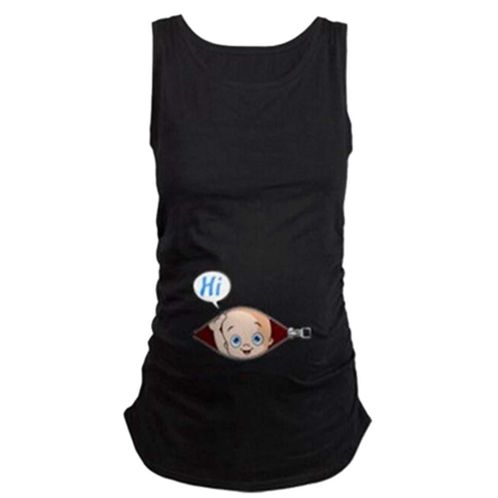 Pregnant Sweatshirt Hoodie for Women Plus Size,Pregnant Cute Kid Pattern Vest Maternity Shirt Sleeveless T-Shirt Pregnant Tops,Novelty Clothing,Blue,S