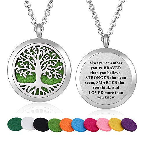 WPFdesign Stainless Steel Tree of Life Aroma Therapy Aromatherapy Essential Oil Diffuser Necklace Locket Pendant