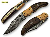 FNA-1180, Custom Handmade Damascus Steel 7.4 Inches Folding Knife – Beautiful Hand Engraving on Brown Micarta and Browns Metal Handle For Sale