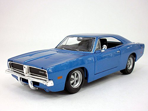 1969 Dodge Charger R/T 1/25 Scale Diecast Metal Car Model - BLUE