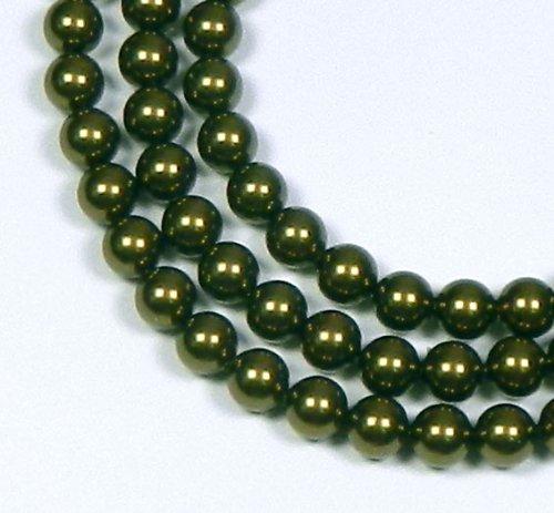 Green South Round Pearl Sea (100 Swarovski Crystal Pearls 4mm Round Beads (5810). 16 Inch Loose Strand (Dark Green))