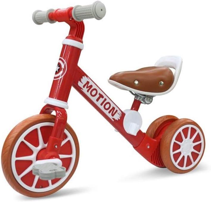 BLWX LY Dos en uno Bicicletas sin Pedals , Caminante de niños Durante 2-4 años, Neumático de amortiguación EVA, Asiento Ajustable ( Color : Red )