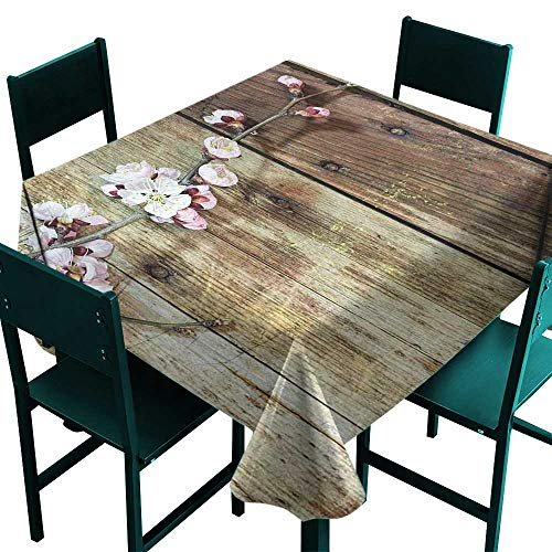 (Rustic Home Decor Tablecloth Printing Stained Walnut Branch with Soft Twiggy Swirling Flower Leaves Concept Pink Brown Tablecloth 4 Seater W 54