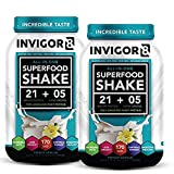 INVIGOR8 Superfood Shake Gluten-Free and Non GMO Meal Replacement Grass-Fed Whey Protein Shake with Probiotics and Omega 3 (645g) … (2-Pk Vanilla (Save 15))